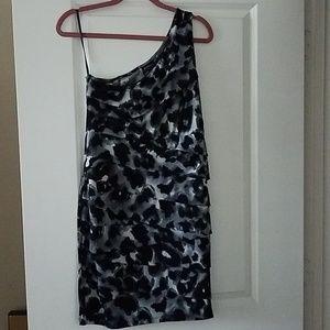 Leopard one shoulder midi dress